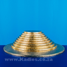 "CAKE BOARDS THICK 6""-16"" GOLD ROUND PACK OF 5"
